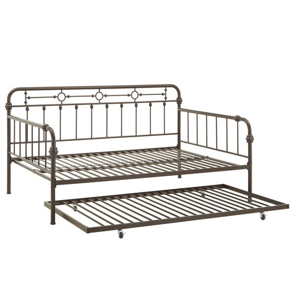 Elliot Antique Dark Bronze Metal Full Daybed with Trundle Bed, image 4